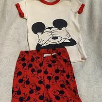 Baby Gap Toddler Boy Pjs Pajama 2t Red White Disney Mickey Mouse Shorts & Ss Top Photo