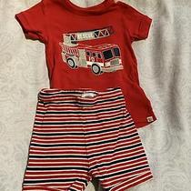 Baby Gap Toddler Boy Pjs Pajama 2t Red White Firetruck Rescue Shorts & Ss Top Photo