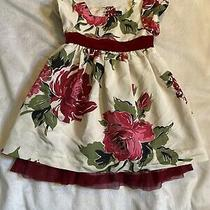 Baby Gap Toddler Girl Christmas Holiday Dress Size 2t Red Floral Photo