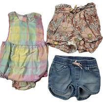 Baby Gap Toddler Girl Plaid Romper Denim Shorts Floral Shorts Lot - 18-24 Mo Photo