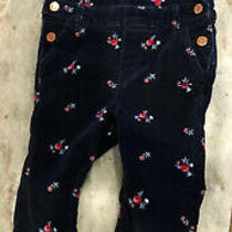Baby Gap Toddler Girl Size 3t Blue Floral Velour Like Fabric Overalls 5 Pockets Photo