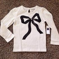 Baby Gap Toddler Girls Ivory W/black Bow Gem Graphic T Shirt Top Nwt 4t Photo
