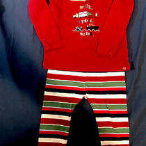 Baby Gap Toddler Long Sleeve Red Christmas Pajamas Size 18 - 24 Photo