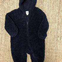 Baby Gap Unisex Navy Blue Fur Zip Up Snowsuit Size 3-6 Months Photo