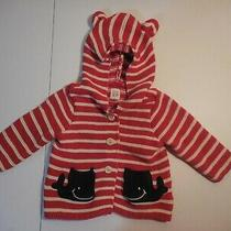 Baby Gap Whale Pocket Red and White Stripe Hoodie Sweater Size 3 - 6 Months Photo