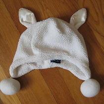 Baby Gap White Fleece Winter Hat 4 5 6 7 Lamb Bear Cat Plush Cap Kids Girls M L Photo