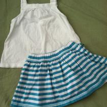 Baby Gap White Swing Tank & Turquoise Striped Skort 18-24 Euc Skirt Top Aqua Photo