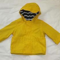Baby Gap Yellow Rain Jacket Coat Infant Size 0-6 Months Hooded Navy Lining Photo