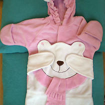 Baby Girl 0-6 Months Pink Snowsuit Fleece W/slit for Seat Belt Hooded Avon Bear Photo