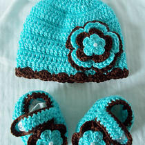 Baby Girl Aqua and Brown Crochet Handmade Hat and Booties Photo Prop Infant  Photo
