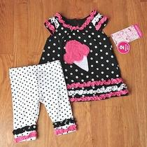 Baby Girl Boutique Outfit  Size 6-9 Mo  Icecream Applique  Nwt Photo