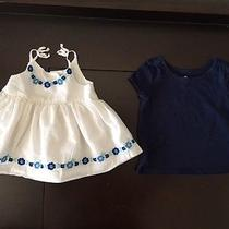 Baby Girl Gap White With Flowers Tank/blue Short Sleeve Top Size 24 Months Photo