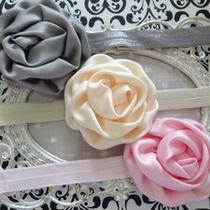 Baby Girl Headband Headbands Lot Set Three Pink Cream and Grey Photo