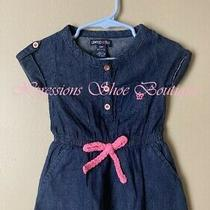 Baby Girl Limited Too Blue Jean Pink Rose Gold Button Romper- Size 12 Months Photo