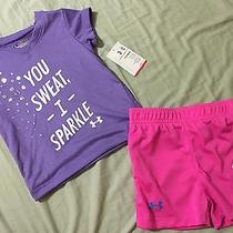 Baby Girl Under Armour You Sweat I Sparkle Tee Flax & Short Pink 18m Photo