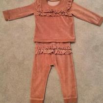 Baby Girl Velour Frill Tracksuit Set - 12-18 Months - Dusky Blush Pink - George  Photo