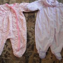 Baby Girls 2 Sleepers Pajamas Carters Fancy Princess Flowers Euc 0-3 Months Photo