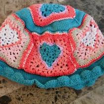 Baby Girls Baby Gap Crochet Hat Lined Hearts Euc Teal Melon Fancy 12-24 Months Photo