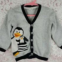 Baby Girls Cardigan Sweater Size 12-18 Months Penguins h&m Gray Black White Photo