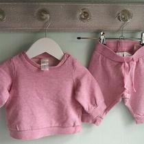 Baby Girls Pink Sweatshirt & Joggers Tracksuit Outfit 2-4 Months h&m Photo