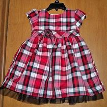Baby Girls Red White & Black Plaid Carter's Dress Size 18 Months Photo