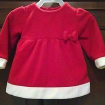 Baby Girls Red & White W/bow Carter's Fleece Christmas Santa Dress- Size 6-9 Mth Photo