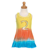 Baby Girls Size 6-12m Yellow Aqua Dip Dyed Bling No. Two Dress Photo