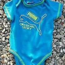 Baby Infant Size 6-9 Months Blue With Neon Puma Onsies Athletic Sports Photo