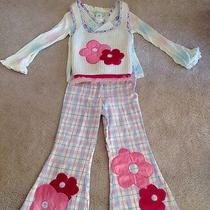 Baby Lulu 3pc Set Nwt Pink White Blue Flowers Top Pants Sweater Vest Size 4 Photo