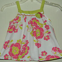 Baby Lulu by Erin Murphy Girls 4 Tank Sleeveless Shirt Tank Rosettes Pink Green Photo