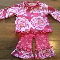 Baby Lulu Cabbage Rose Coral 2 Piece Size 12 Mos Excellent Outfit Beautiful Photo