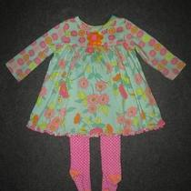 Baby Lulu Dress 12 Months Girls Floral Genuine Kids Polka-Dot Tights Lot Photo