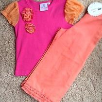 Baby Lulu Girls Shirt Euc & Nwt Ruffled Hem Capri Pants Size 4/5 Pink & Coral Photo