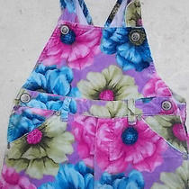 Baby Lulu Overalls Flowers Bright Happy Colors Snap Pant & Strap 3t 100% Cotton Photo