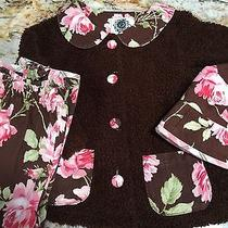 Baby Lulu Passion Brown Floral Chenille 3pc Outfit Jacket Pants & Hat Set  4t Photo