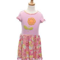 Baby Lulu Size 6 Floral Printed Flower Applique Short Sleeve Girls Ruffle Dress Photo