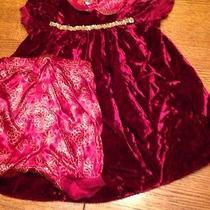 Baby Lulu Zinnia Red Velvet Gold Boutique Dress 24 Mo Euc Holiday Valentines Day Photo