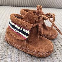 Baby Minnetonka Moccasins Brown Suede Size 1 Photo