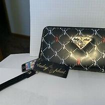 Baby Phat Black Clutch Purse With Silver & Red Cat & Diamond Design 7.5x4