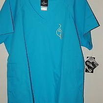 Baby Phat Female Scrub Top Large River Blue New With Tags Photo