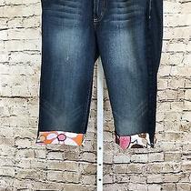 Baby Phat Juniors Denim Capris Size 7 Printed Fabric Cuffs Cotton Blend  Photo