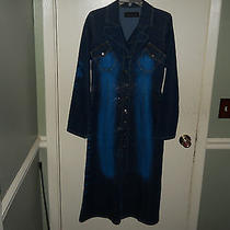 Baby Phat Ladies Denim Coat or Duster Size Medium 2 Tone Denim With Shine New Photo