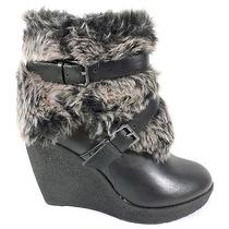 Baby Phat New Demaris Womens Size 10 Black Faux Fur Winter Ankle Wedge Boots Photo