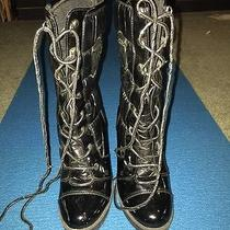 Baby Phat Quilted Patent Woman's High Heel Black  Boots Size 7 4 1/2