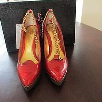 Baby Phat Red With Gold Glitter Pumps Like New Photo