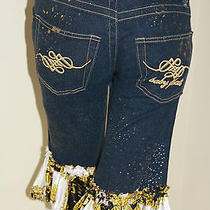 Baby Phat Ruffled Splattered Paint Gold Cut Off Jeans Shorts Womens Stretch 3 Photo