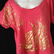 Baby Phat Size Large Coral Shirt With Gold Graphics Photo