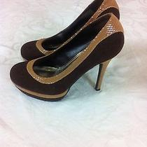 Baby Phat Womens Brown Suede Beige Leather Trim Pumps Heels Shoes 6 1/2 Uk 4 Photo