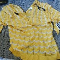Baby Phat Yellow & Silver Knit Lightweight v Neck Sweater Size 1x New  Photo