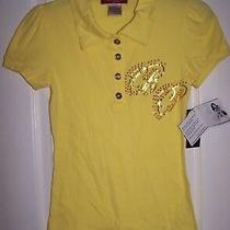 Baby Phat Yellow Sz M Polo Shirt Top With Gold Foil Logo Nwt Photo